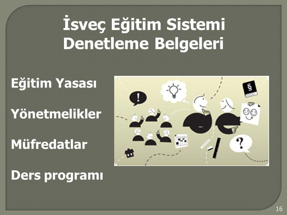 16 İsveç Eğitim Sistemi Denetleme Belgeleri Eğitim Yasası Yönetmelikler Müfredatlar Ders programı