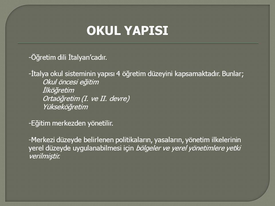 OKUL YAPISI -Öğretim dili İtalyan'cadır.