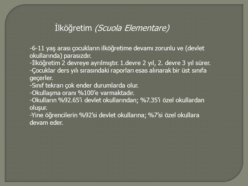 İlköğretim (Scuola Elementare) -6-11 yaş arası çocukların ilköğretime devamı zorunlu ve (devlet okullarında) parasızdır.