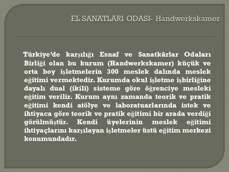 Türkiye'de kar ş ılı ğ ı Esnaf ve Sanatkârlar Odaları Birli ğ i olan bu kurum (Handwerkskamer) küçük ve orta boy i ş letmelerin 300 meslek dalında meslek e ğ itimi vermektedir.