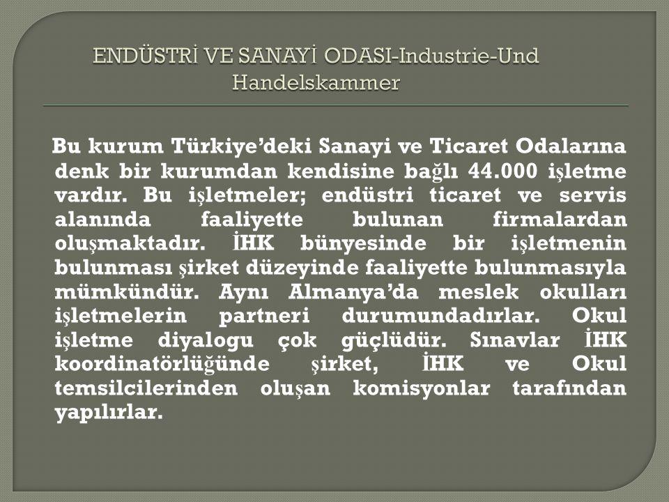 Bu kurum Türkiye'deki Sanayi ve Ticaret Odalarına denk bir kurumdan kendisine ba ğ lı 44.000 i ş letme vardır.