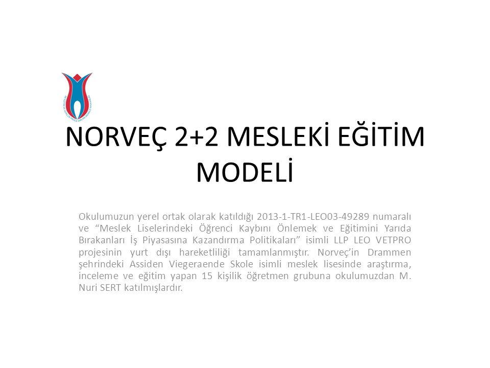 """NORVEÇ 2+2 MESLEKİ EĞİTİM MODELİ Okulumuzun yerel ortak olarak katıldığı 2013-1-TR1-LEO03-49289 numaralı ve """"Meslek Liselerindeki Öğrenci Kaybını Önle"""