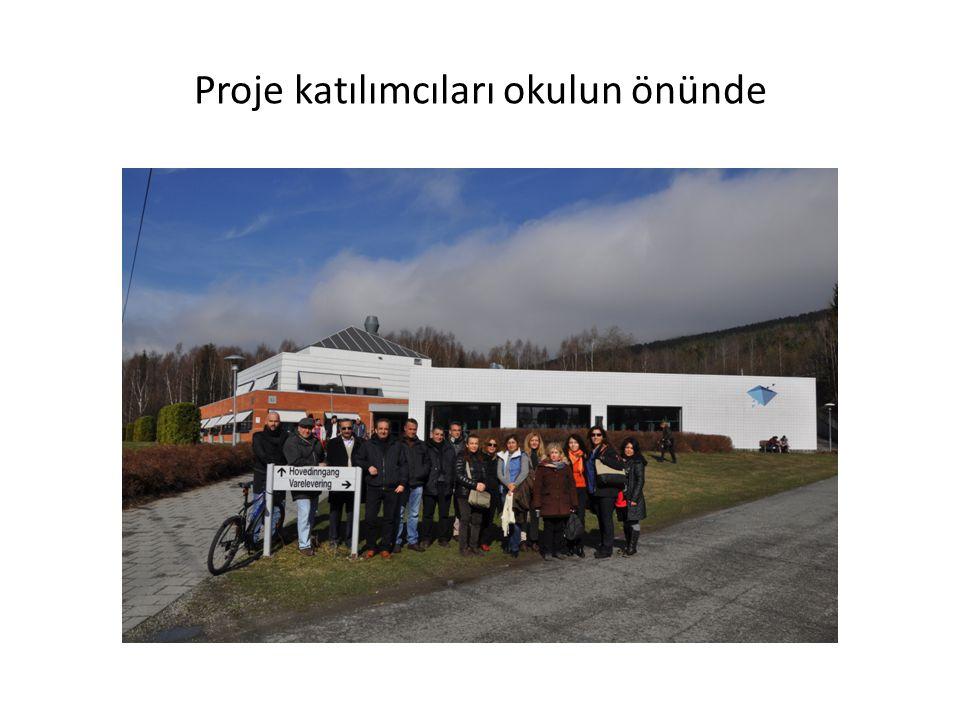 Proje katılımcıları okulun önünde