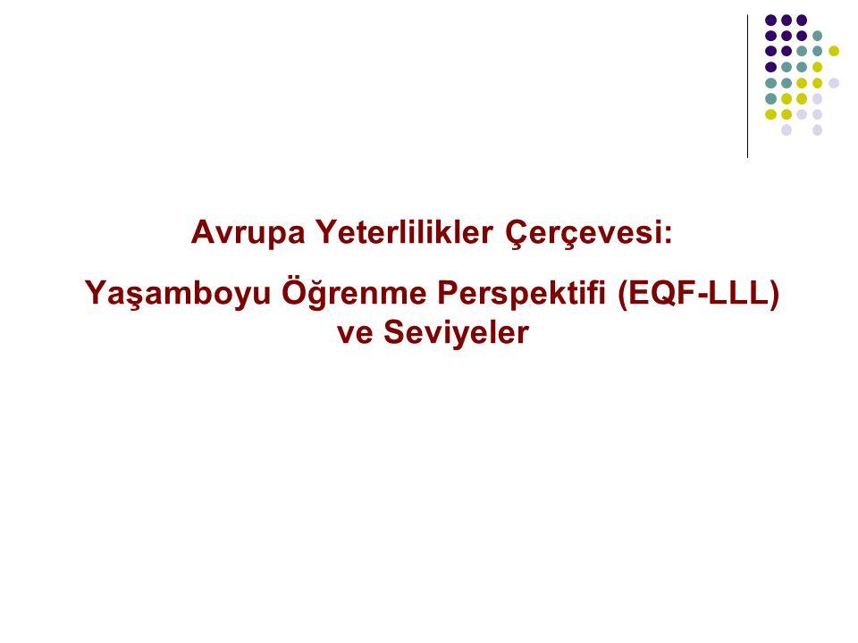 Avrupa Yeterlilikler Çerçevesi: Yaşamboyu Öğrenme Perspektifi (EQF-LLL) ve Seviyeler
