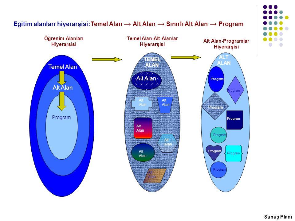 Temel Alan Alt Alan Program Alt Alan Program Öğrenim Alanları Hiyerarşisi Temel Alan-Alt Alanlar Hiyerarşisi Alt Alan-Programlar Hiyerarşisi TEMEL ALA