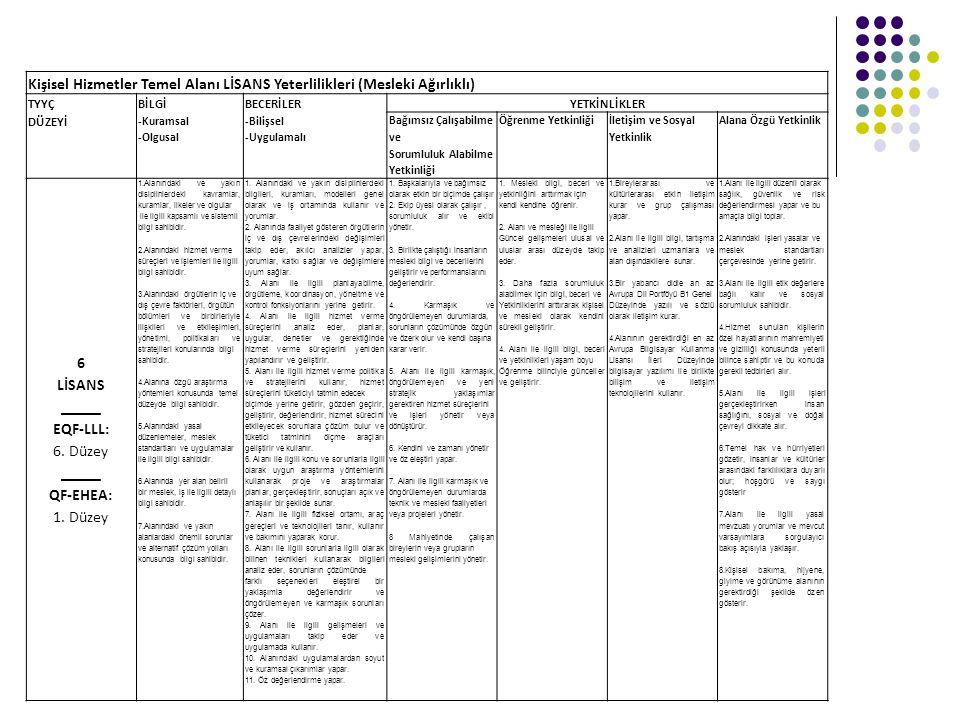 Kişisel Hizmetler Temel Alanı LİSANS Yeterlilikleri (Mesleki Ağırlıklı) TYYÇ DÜZEYİ BİLGİ -Kuramsal -Olgusal BECERİLER -Bilişsel -Uygulamalı YETKİNLİK