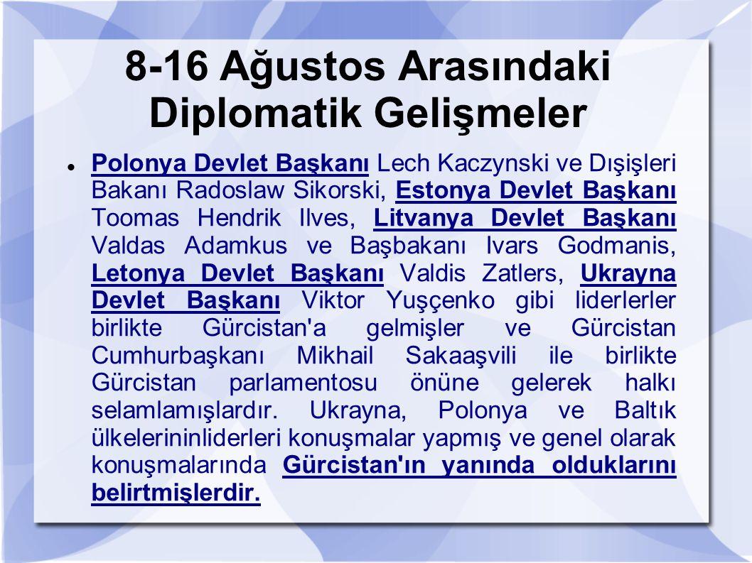 8-16 Ağustos Arasındaki Diplomatik Gelişmeler Polonya Devlet Başkanı Lech Kaczynski ve Dışişleri Bakanı Radoslaw Sikorski, Estonya Devlet Başkanı Toom