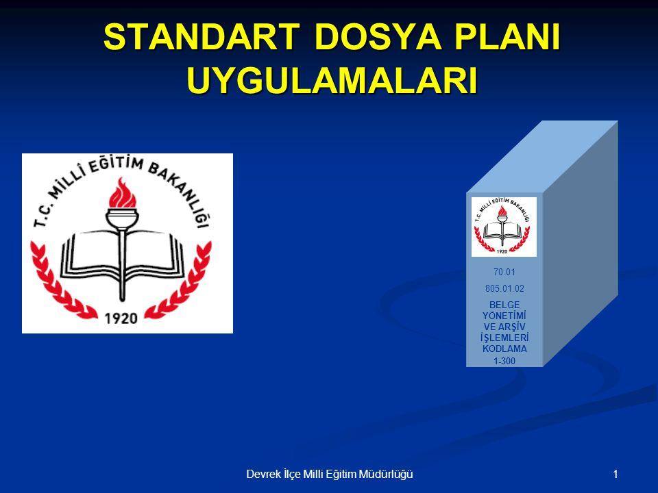 12Devrek İlçe Milli Eğitim Müdürlüğü STANDART DOSYA PLANI Standart dosya planı, belgelerin Standart dosya planı, belgelerinKONULARINA göre sınıflandırılmasını amaçlayan desimal dosyalama sistemidir.