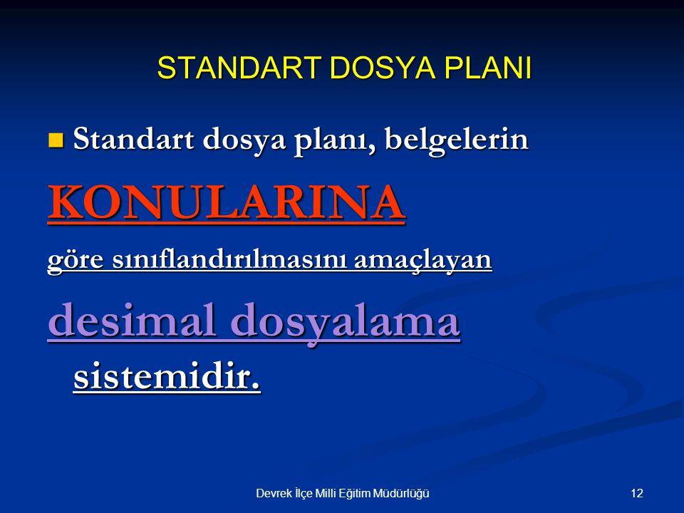 12Devrek İlçe Milli Eğitim Müdürlüğü STANDART DOSYA PLANI Standart dosya planı, belgelerin Standart dosya planı, belgelerinKONULARINA göre sınıflandır