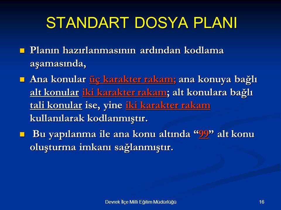 16Devrek İlçe Milli Eğitim Müdürlüğü STANDART DOSYA PLANI Planın hazırlanmasının ardından kodlama aşamasında, Planın hazırlanmasının ardından kodlama