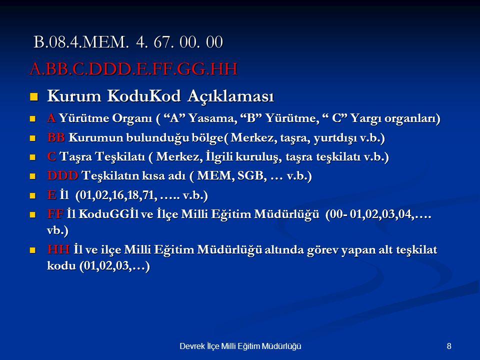 8Devrek İlçe Milli Eğitim Müdürlüğü B.08.4.MEM. 4. 67. 00. 00 B.08.4.MEM. 4. 67. 00. 00A.BB.C.DDD.E.FF.GG.HH Kurum KoduKod Açıklaması Kurum KoduKod Aç