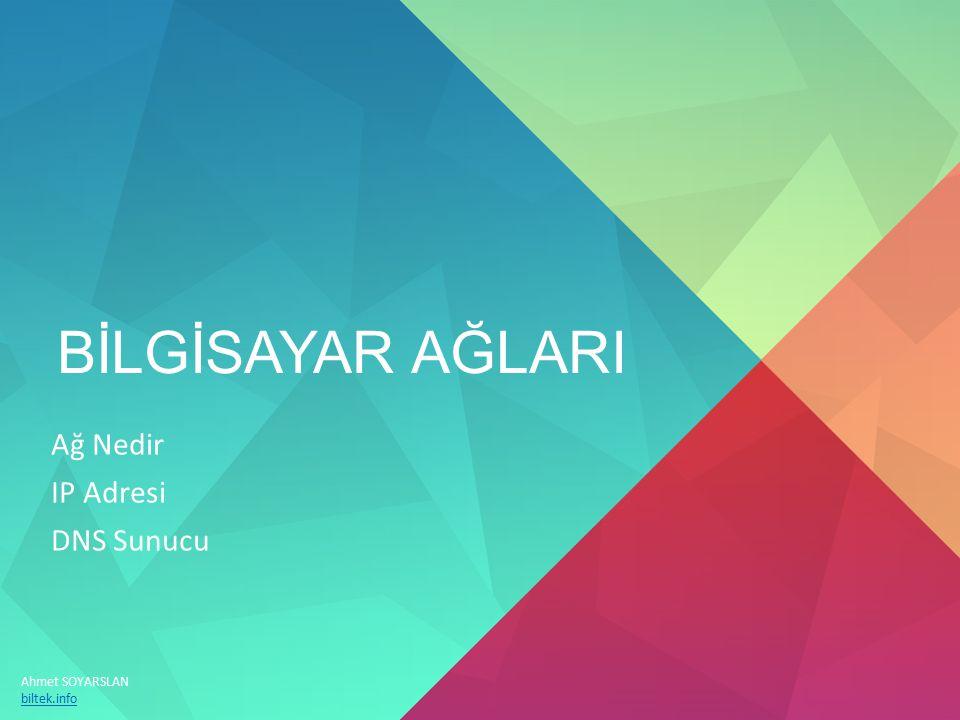 BİLGİSAYAR AĞLARI Ağ Nedir IP Adresi DNS Sunucu Ahmet SOYARSLAN biltek.info
