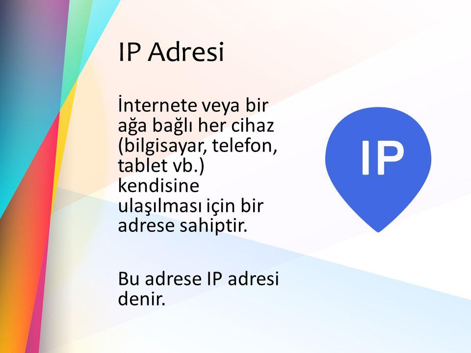 IP Adresi İnternete veya bir ağa bağlı her cihaz (bilgisayar, telefon, tablet vb.) kendisine ulaşılması için bir adrese sahiptir. Bu adrese IP adresi