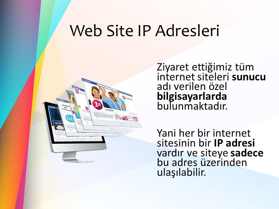 Web Site IP Adresleri Ziyaret ettiğimiz tüm internet siteleri sunucu adı verilen özel bilgisayarlarda bulunmaktadır. Yani her bir internet sitesinin b