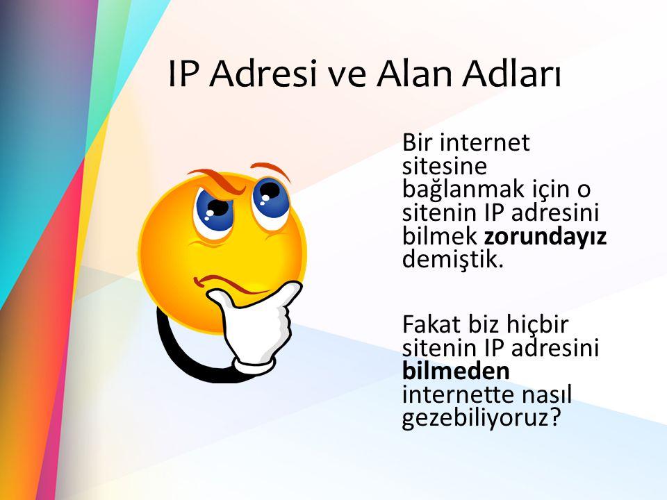 IP Adresi ve Alan Adları Bir internet sitesine bağlanmak için o sitenin IP adresini bilmek zorundayız demiştik. Fakat biz hiçbir sitenin IP adresini b