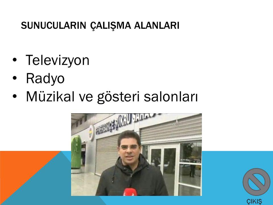 SUNUCULARIN ÇALIŞMA ALANLARI Televizyon Radyo Müzikal ve gösteri salonları ÇIKIŞ