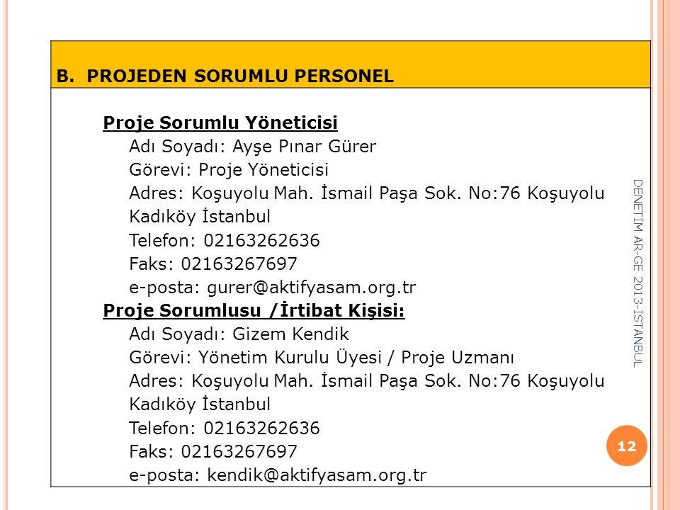 B. PROJEDEN SORUMLU PERSONEL Proje Sorumlu Yöneticisi Adı Soyadı: Ayşe Pınar Gürer Görevi: Proje Yöneticisi Adres: Koşuyolu Mah. İsmail Paşa Sok. No:7