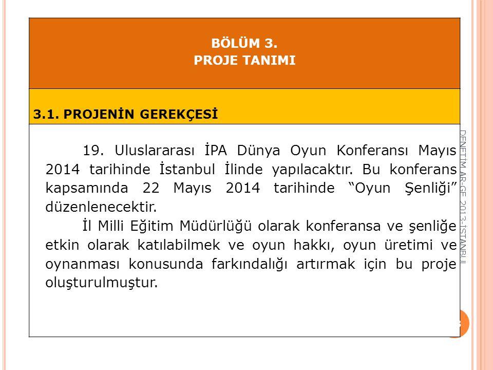 BÖLÜM 3. PROJE TANIMI 3.1. PROJENİN GEREKÇESİ 19. Uluslararası İPA Dünya Oyun Konferansı Mayıs 2014 tarihinde İstanbul İlinde yapılacaktır. Bu konfera