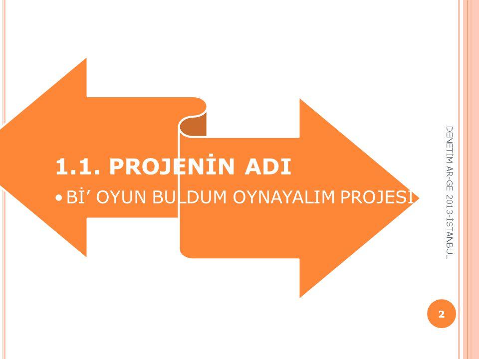 1.1. PROJENİN ADI Bİ' OYUN BULDUM OYNAYALIM PROJESİ 2 DENETİM AR-GE 2013-İSTANBUL