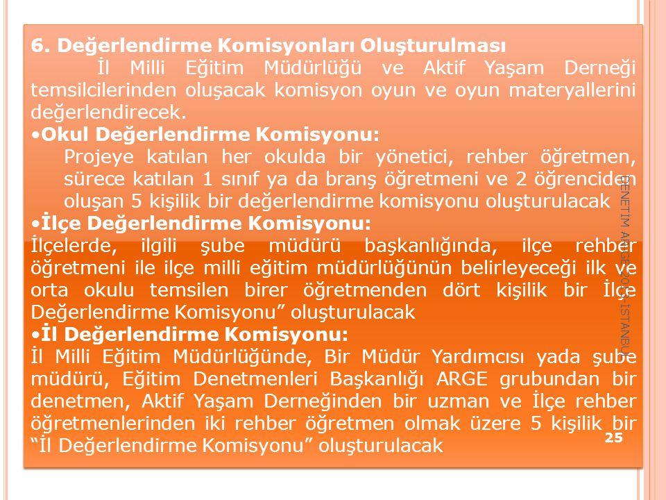 6. Değerlendirme Komisyonları Oluşturulması İl Milli Eğitim Müdürlüğü ve Aktif Yaşam Derneği temsilcilerinden oluşacak komisyon oyun ve oyun materyall