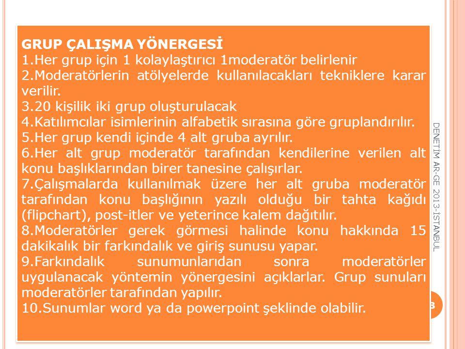 DENETİM AR-GE 2013-İSTANBUL 38 GRUP ÇALIŞMA YÖNERGESİ 1.Her grup için 1 kolaylaştırıcı 1moderatör belirlenir 2.Moderatörlerin atölyelerde kullanılacak