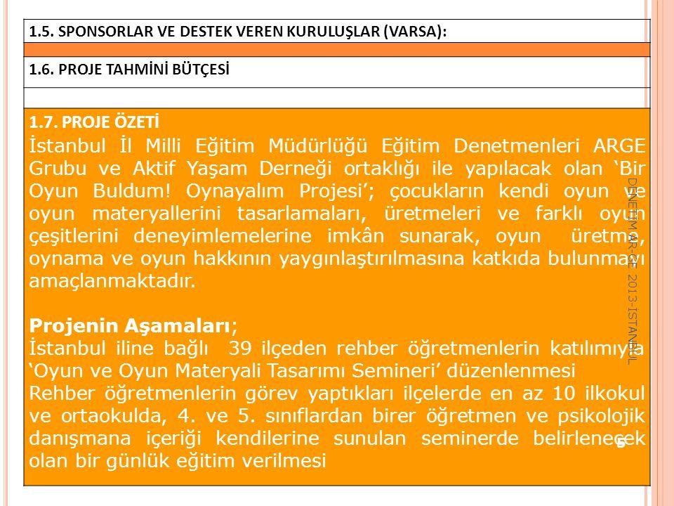 1.5. SPONSORLAR VE DESTEK VEREN KURULUŞLAR (VARSA): 1.6. PROJE TAHMİNİ BÜTÇESİ 1.7. PROJE ÖZETİ İstanbul İl Milli Eğitim Müdürlüğü Eğitim Denetmenleri