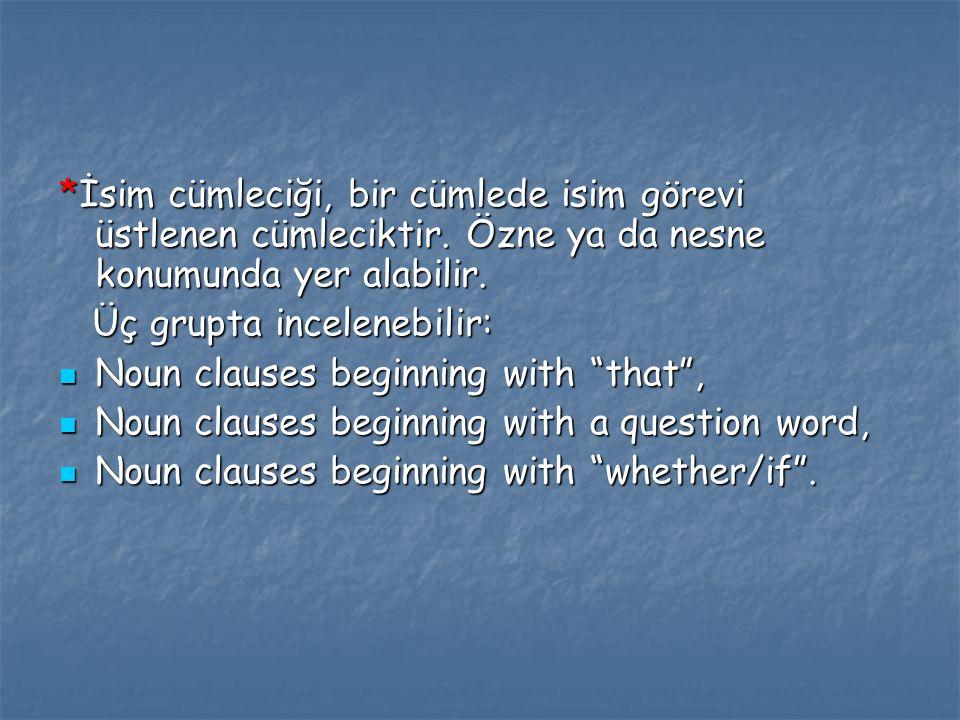 *İsim cümleciği, bir cümlede isim görevi üstlenen cümleciktir. Özne ya da nesne konumunda yer alabilir. Üç grupta incelenebilir: Üç grupta incelenebil