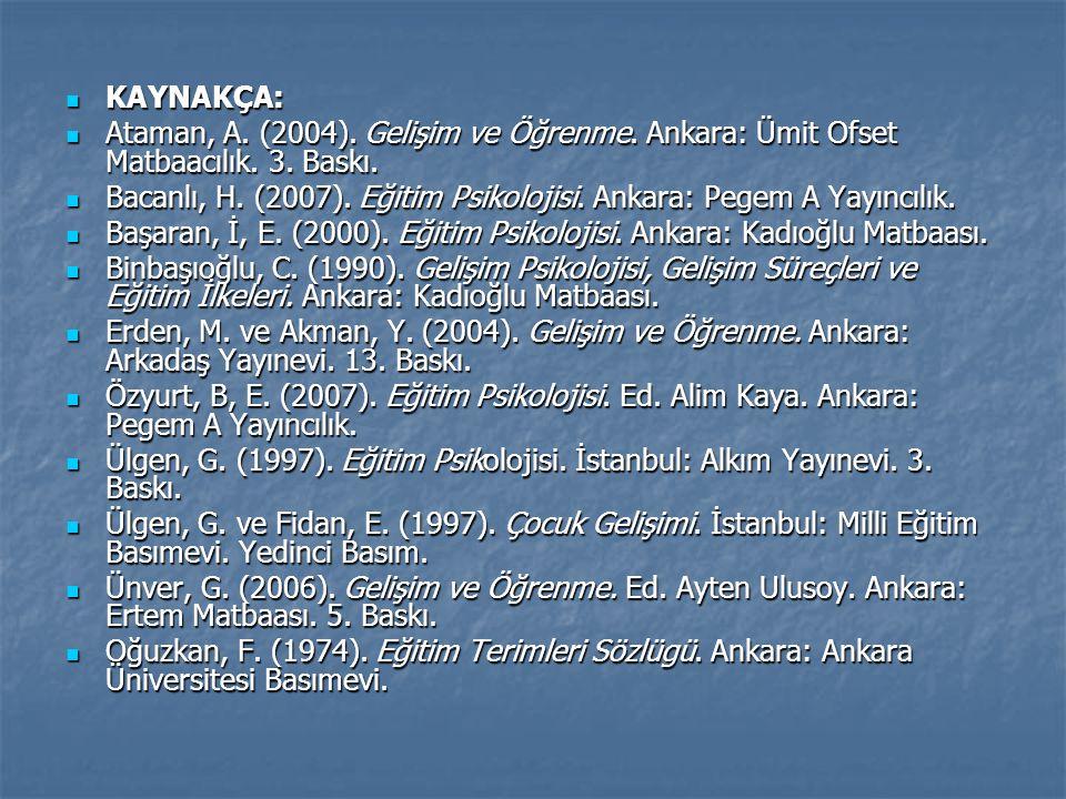 KAYNAKÇA: KAYNAKÇA: Ataman, A. (2004). Gelişim ve Öğrenme. Ankara: Ümit Ofset Matbaacılık. 3. Baskı. Ataman, A. (2004). Gelişim ve Öğrenme. Ankara: Üm