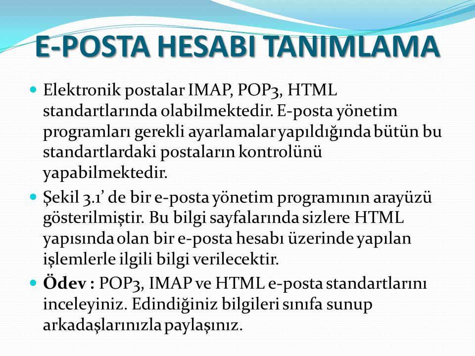 E-POSTA HESABI TANIMLAMA Elektronik postalar IMAP, POP3, HTML standartlarında olabilmektedir. E-posta yönetim programları gerekli ayarlamalar yapıldığ