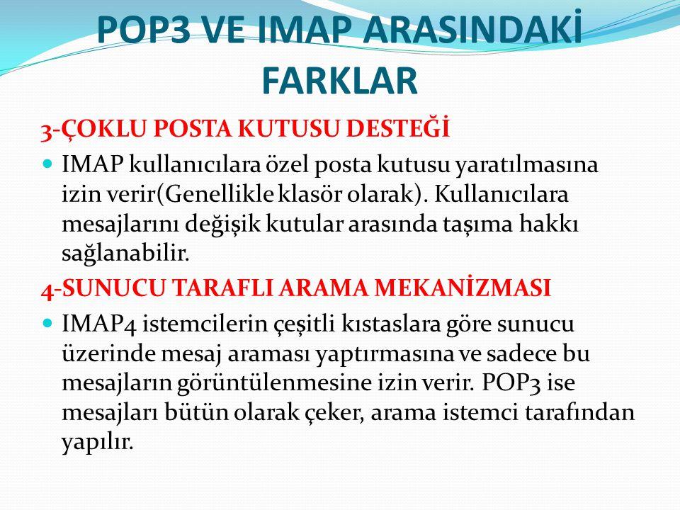 POP3 VE IMAP ARASINDAKİ FARKLAR 3-ÇOKLU POSTA KUTUSU DESTEĞİ IMAP kullanıcılara özel posta kutusu yaratılmasına izin verir(Genellikle klasör olarak).