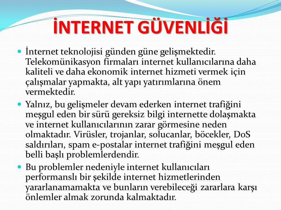 İNTERNET GÜVENLİĞİ İnternet teknolojisi günden güne gelişmektedir. Telekomünikasyon firmaları internet kullanıcılarına daha kaliteli ve daha ekonomik