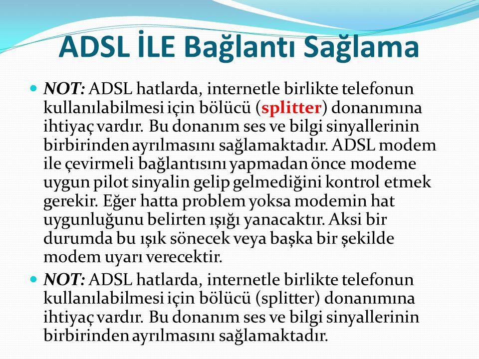 ADSL İLE Bağlantı Sağlama NOT: ADSL hatlarda, internetle birlikte telefonun kullanılabilmesi için bölücü (splitter) donanımına ihtiyaç vardır. Bu dona