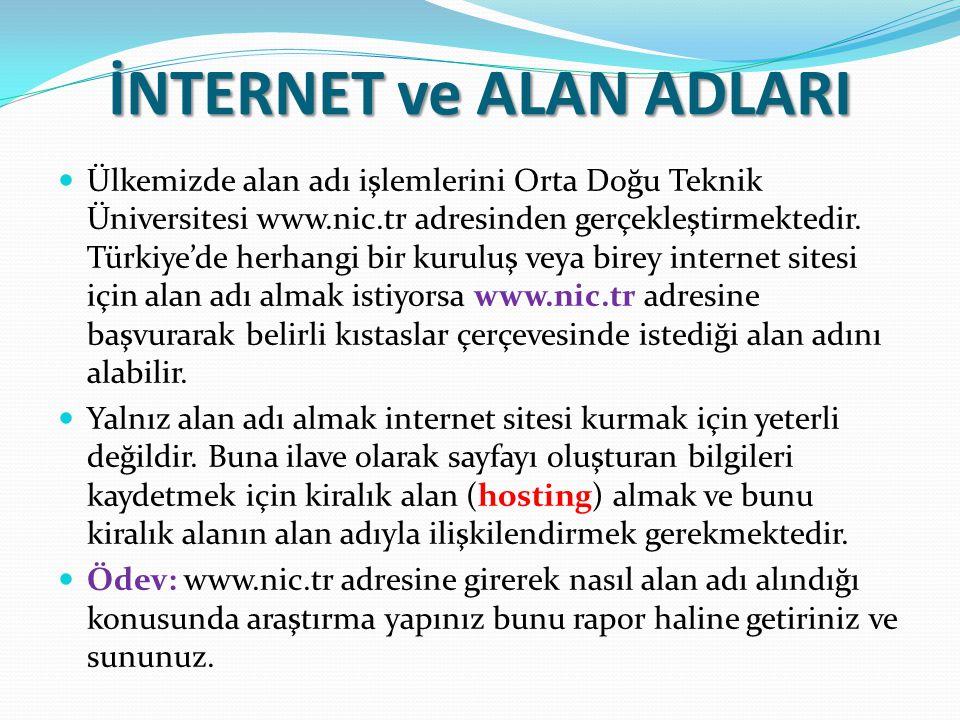 İNTERNET ve ALAN ADLARI Ülkemizde alan adı işlemlerini Orta Doğu Teknik Üniversitesi www.nic.tr adresinden gerçekleştirmektedir. Türkiye'de herhangi b