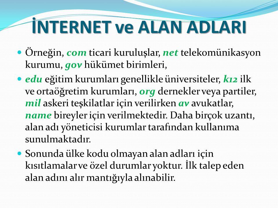 İNTERNET ve ALAN ADLARI Örneğin, com ticari kuruluşlar, net telekomünikasyon kurumu, gov hükümet birimleri, edu eğitim kurumları genellikle üniversite