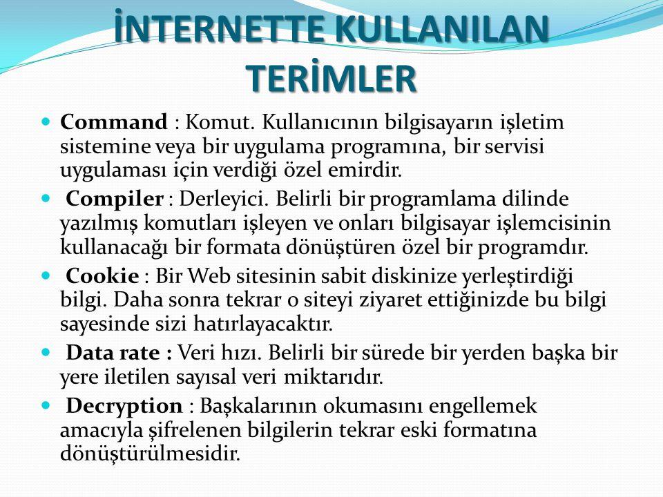 İNTERNETTE KULLANILAN TERİMLER Command : Komut. Kullanıcının bilgisayarın işletim sistemine veya bir uygulama programına, bir servisi uygulaması için