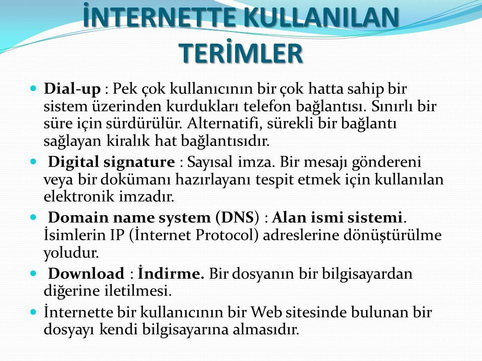 İNTERNETTE KULLANILAN TERİMLER Dial-up : Pek çok kullanıcının bir çok hatta sahip bir sistem üzerinden kurdukları telefon bağlantısı. Sınırlı bir süre