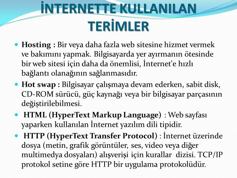 İNTERNETTE KULLANILAN TERİMLER Hosting : Bir veya daha fazla web sitesine hizmet vermek ve bakımını yapmak. Bilgisayarda yer ayırmanın ötesinde bir we