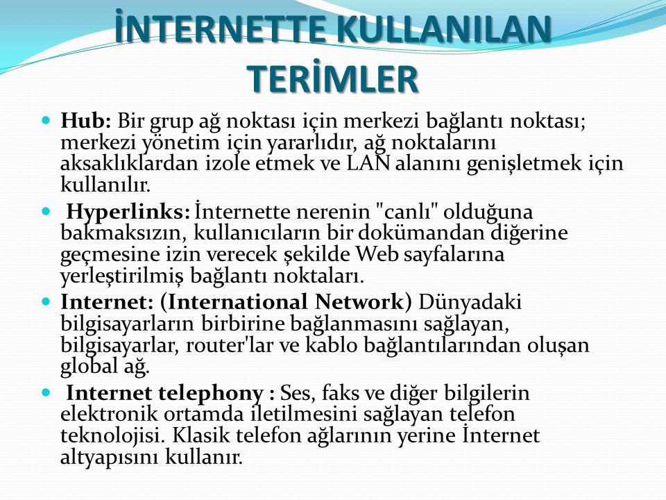 İNTERNETTE KULLANILAN TERİMLER Hub: Bir grup ağ noktası için merkezi bağlantı noktası; merkezi yönetim için yararlıdır, ağ noktalarını aksaklıklardan