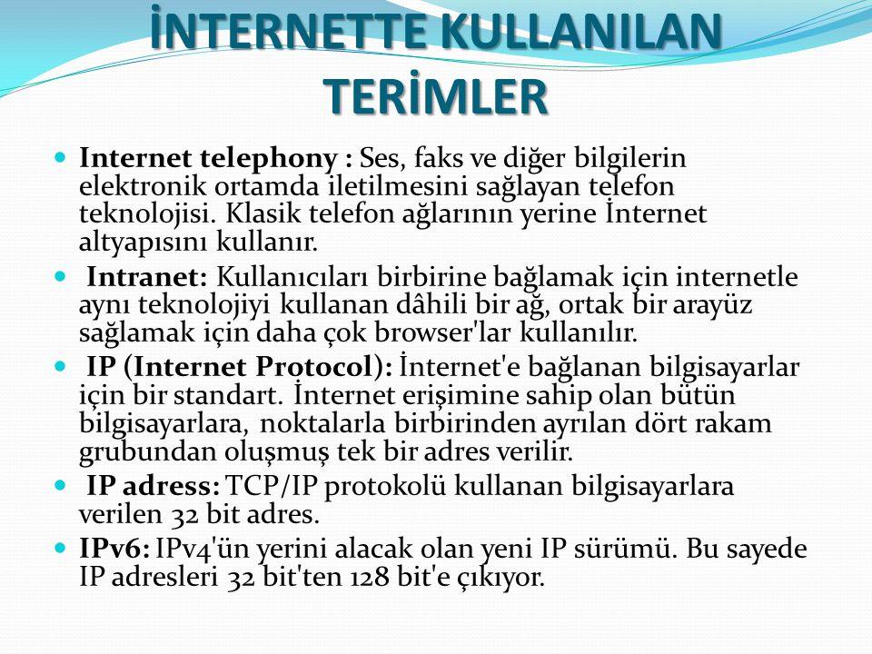 İNTERNETTE KULLANILAN TERİMLER Internet telephony : Ses, faks ve diğer bilgilerin elektronik ortamda iletilmesini sağlayan telefon teknolojisi. Klasik