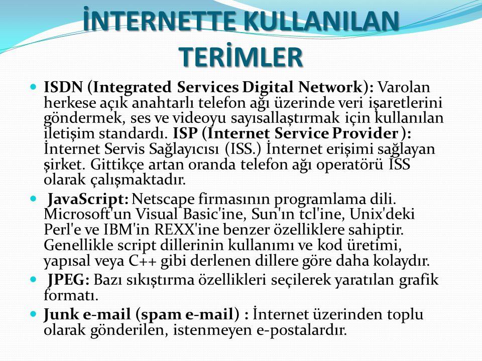 İNTERNETTE KULLANILAN TERİMLER ISDN (Integrated Services Digital Network): Varolan herkese açık anahtarlı telefon ağı üzerinde veri işaretlerini gönde