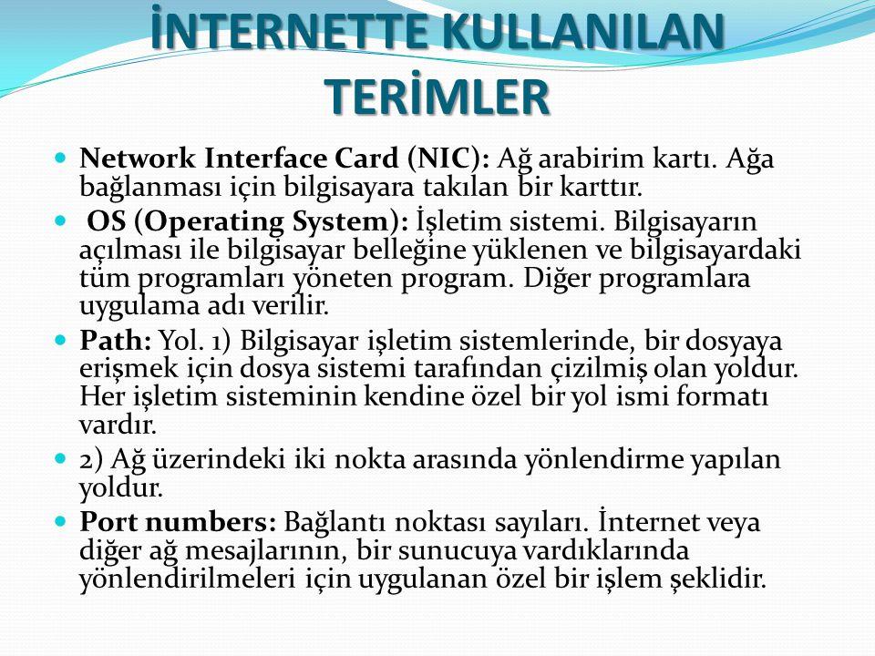 İNTERNETTE KULLANILAN TERİMLER Network Interface Card (NIC): Ağ arabirim kartı. Ağa bağlanması için bilgisayara takılan bir karttır. OS (Operating Sys