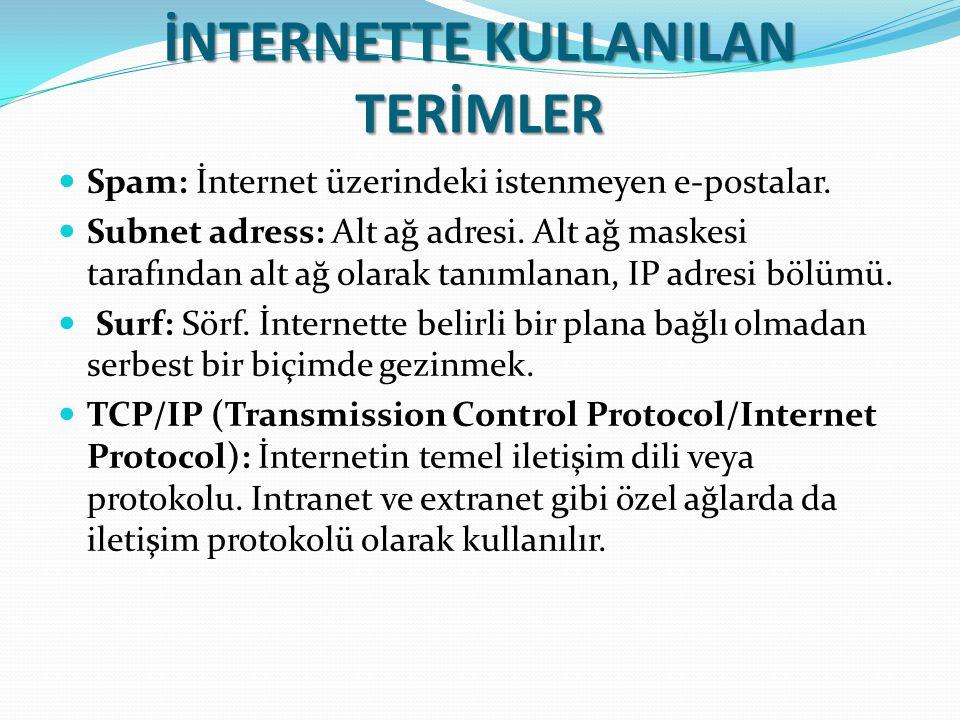 İNTERNETTE KULLANILAN TERİMLER Spam: İnternet üzerindeki istenmeyen e-postalar. Subnet adress: Alt ağ adresi. Alt ağ maskesi tarafından alt ağ olarak