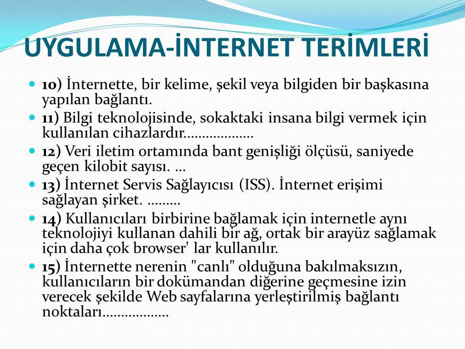 UYGULAMA-İNTERNET TERİMLERİ 10) İnternette, bir kelime, şekil veya bilgiden bir başkasına yapılan bağlantı. 11) Bilgi teknolojisinde, sokaktaki insana