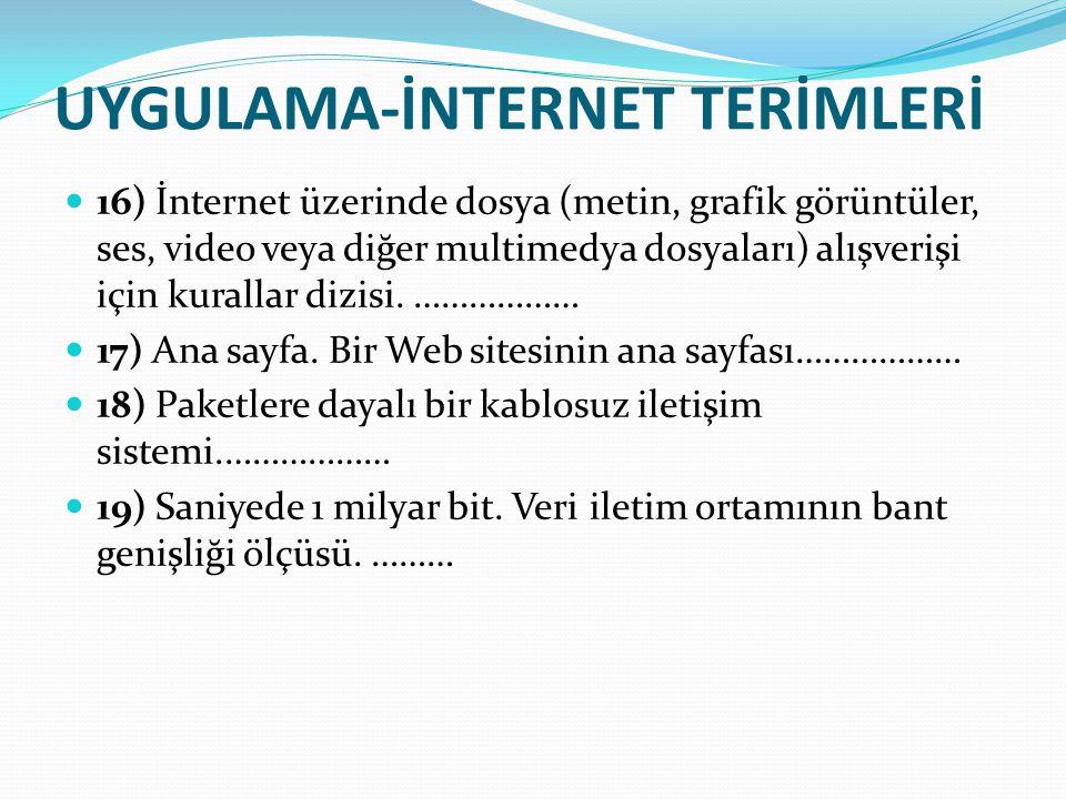 UYGULAMA-İNTERNET TERİMLERİ 16) İnternet üzerinde dosya (metin, grafik görüntüler, ses, video veya diğer multimedya dosyaları) alışverişi için kuralla