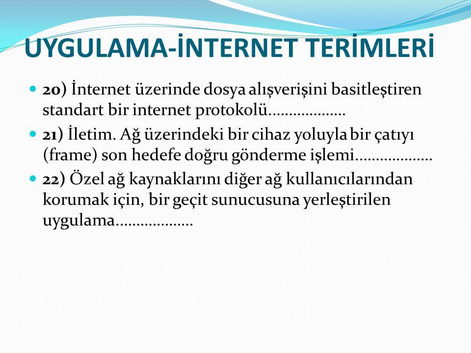 UYGULAMA-İNTERNET TERİMLERİ 20) İnternet üzerinde dosya alışverişini basitleştiren standart bir internet protokolü.……………… 21) İletim. Ağ üzerindeki bi