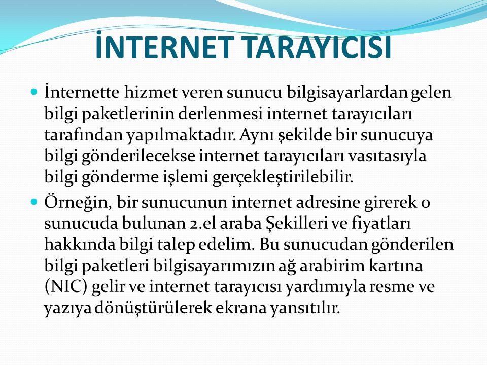 İNTERNET TARAYICISI İnternette hizmet veren sunucu bilgisayarlardan gelen bilgi paketlerinin derlenmesi internet tarayıcıları tarafından yapılmaktadır