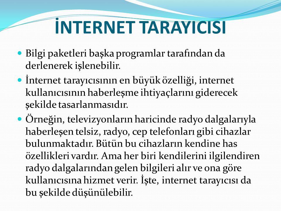 İNTERNET TARAYICISI Bilgi paketleri başka programlar tarafından da derlenerek işlenebilir. İnternet tarayıcısının en büyük özelliği, internet kullanıc