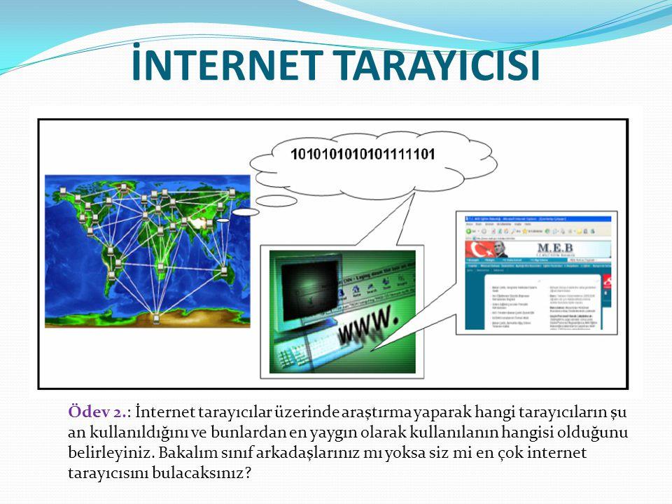 İNTERNET TARAYICISI Ödev 2.: İnternet tarayıcılar üzerinde araştırma yaparak hangi tarayıcıların şu an kullanıldığını ve bunlardan en yaygın olarak ku