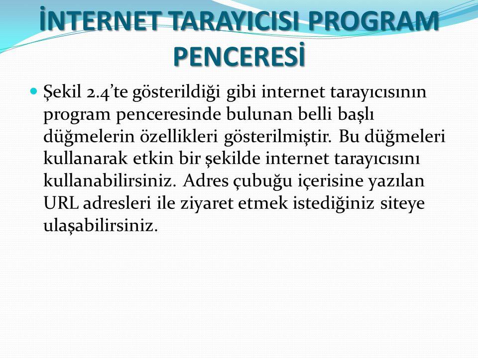 İNTERNET TARAYICISI PROGRAM PENCERESİ Şekil 2.4'te gösterildiği gibi internet tarayıcısının program penceresinde bulunan belli başlı düğmelerin özelli