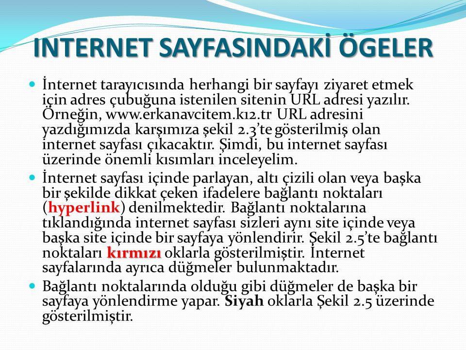 INTERNET SAYFASINDAKİ ÖGELER İnternet tarayıcısında herhangi bir sayfayı ziyaret etmek için adres çubuğuna istenilen sitenin URL adresi yazılır. Örneğ